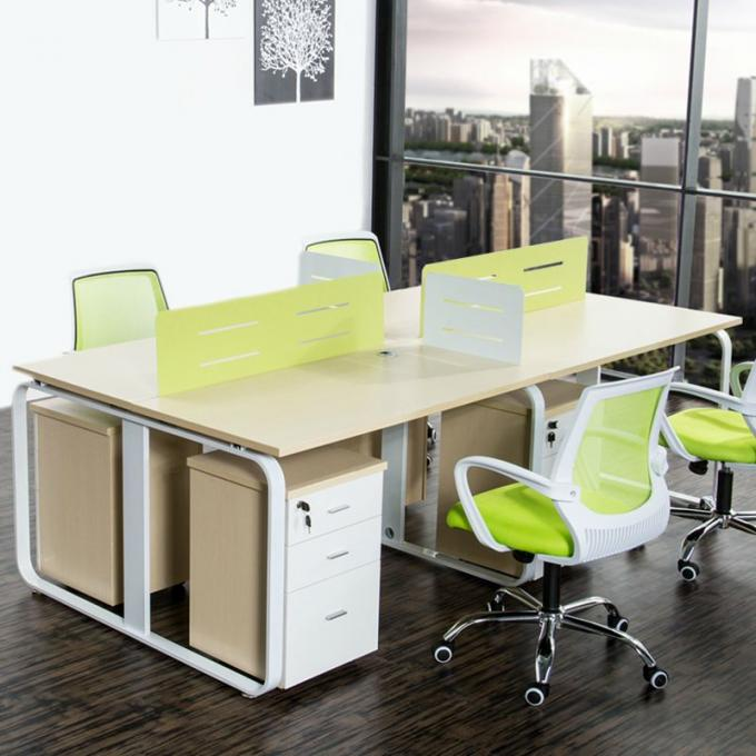 Wood Grain Melamine Particle Board Office Furniture For Four Person Working Office Table