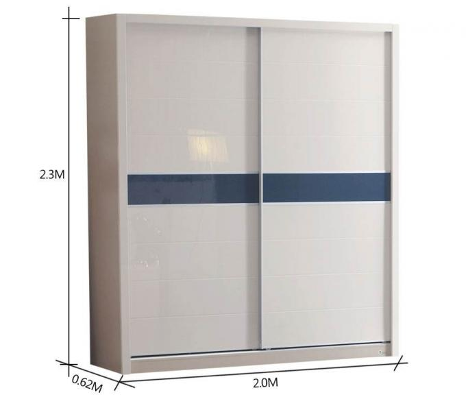 Sliding door Particle Board Wardrobe With Trouser Hanger Rack Clothes Rail