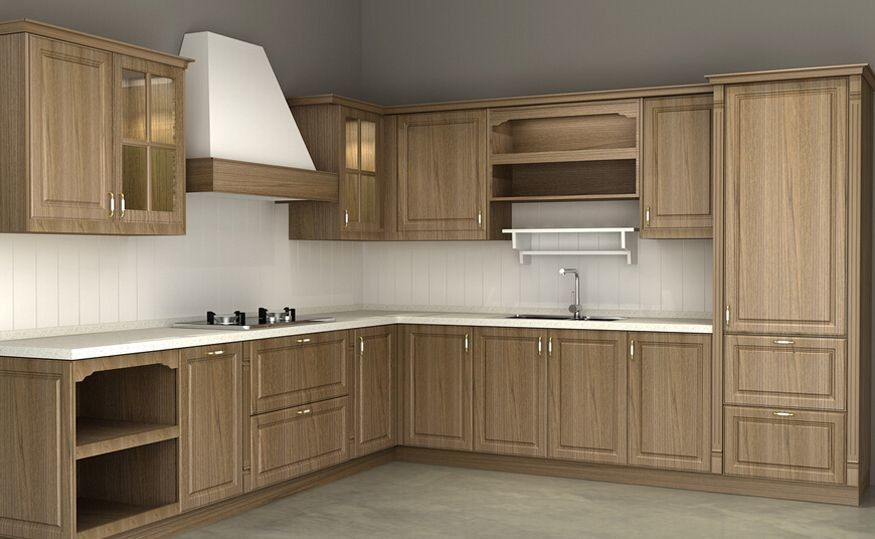 Wood Veneer Particle Board Kitchen Cabinets With Basket ...