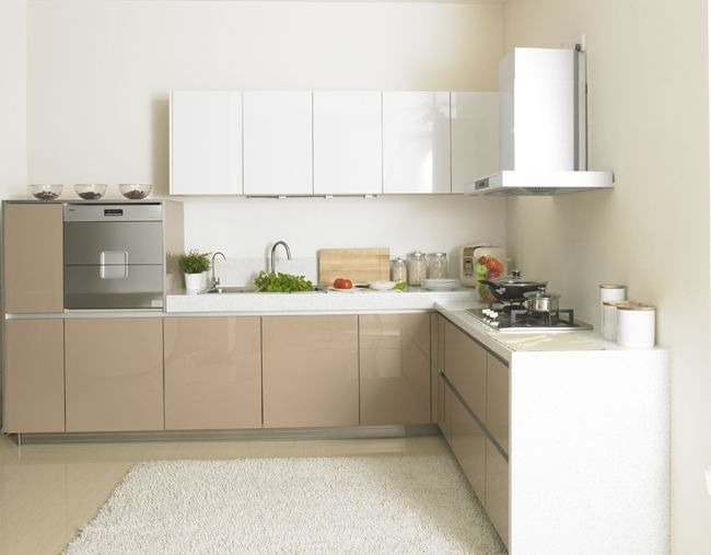 L Shape Pressed Wood Kitchen Cabinets / Simple Particle ...