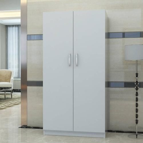 New Design Three Doors Particle Board Wardrobe With Wood Shelves And Hangers