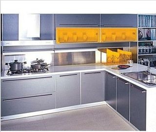 China Drawer Compressed Wood Kitchen Cabinets , Kitchen Wardrobe Cabinet With Metal Slider factory
