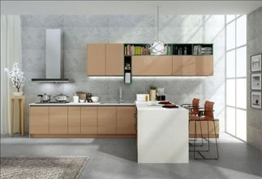 China No Ratten Laminated Particle Board Cabinets , Wooden Modern Kitchen Wardrobe factory
